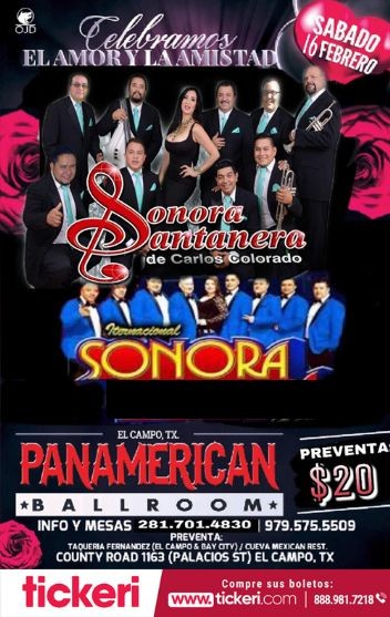 Flyer for Sonora Santanera y La Sonora en Concierto en el Campo, TX