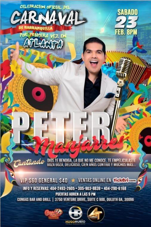 Flyer for Peter Manjarres en Atlanta,GA