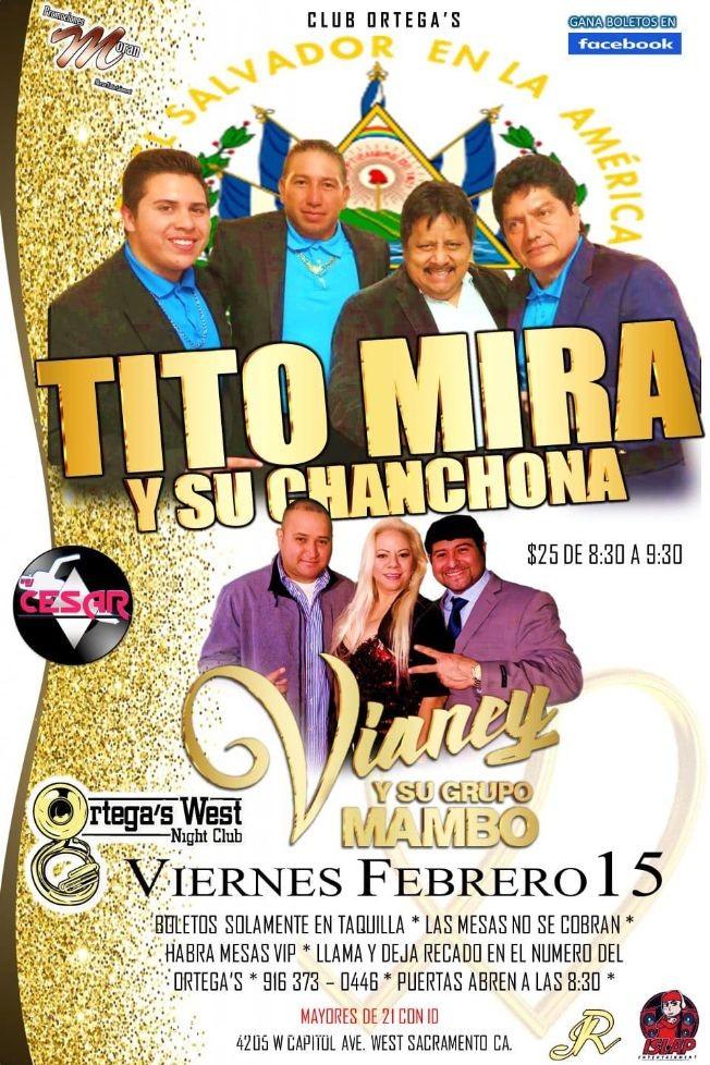 Flyer for Club Ortega's Presenta: Tito Mira y Su Chanchona + Vianey y Su Grupo Mambo