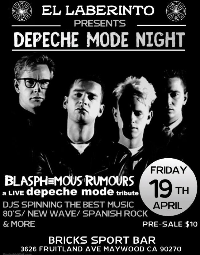 Flyer for DEPECHE MODE Live Tribute\\ 80'S Night