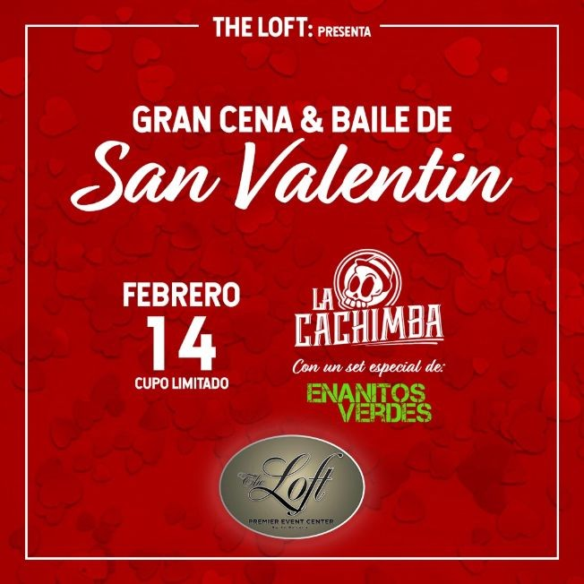 Flyer for GRAN CENA & BAILE DE SAN VALENTIN