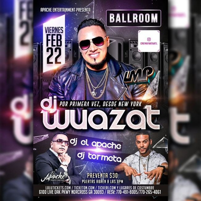 Flyer for DJ WUAZAT EN CONCIERTO
