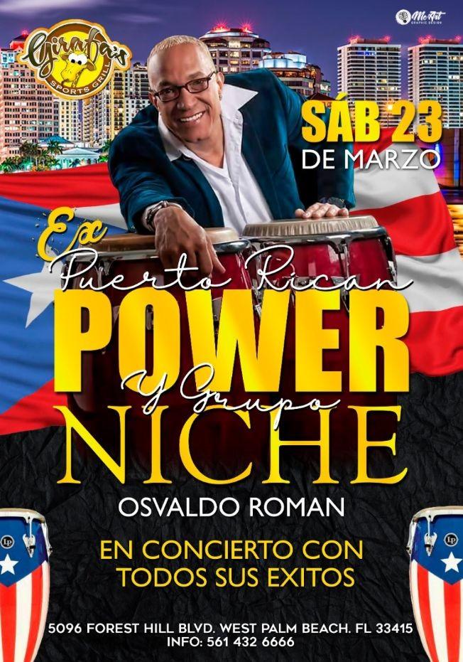 Flyer for Ex GRUPO NICHE y PUERTO RICAN POWER: OSVALDO ROMAN en CONCIERTO