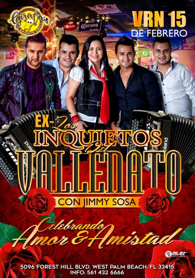 Flyer for ex Los INQUIETOS del VALLENATO con Jimmy Sosa en GIRAFA'S !!