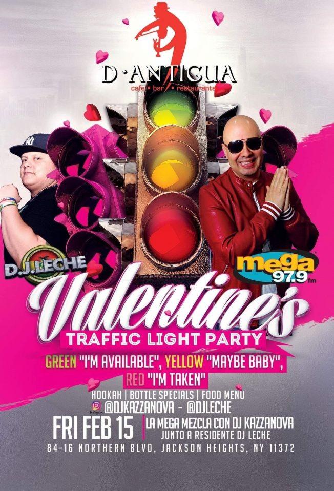 Flyer for Valentine's Traffic Light Party con La Mega 97.9