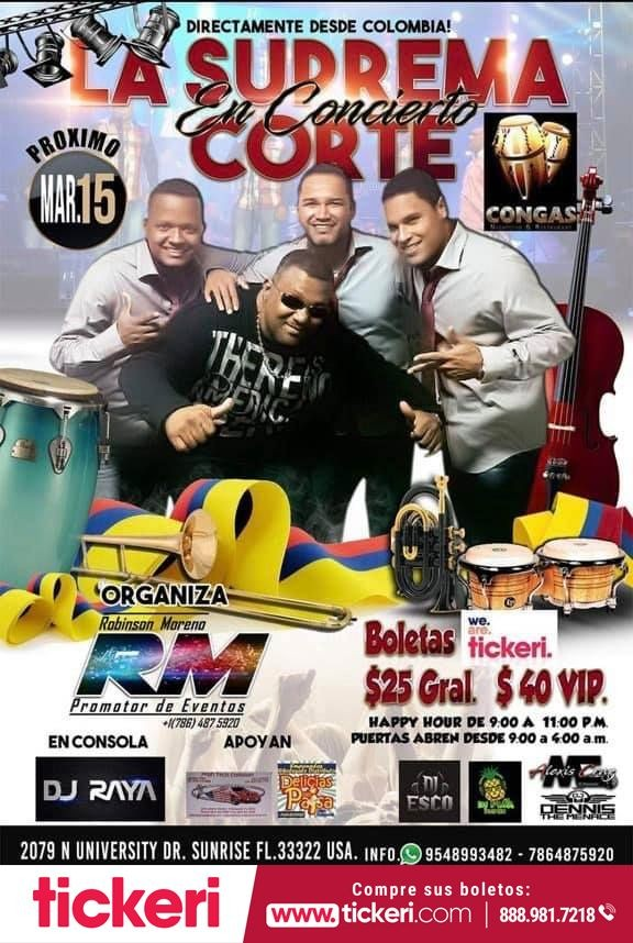 Flyer for La Suprema Corte en Sunrise FL