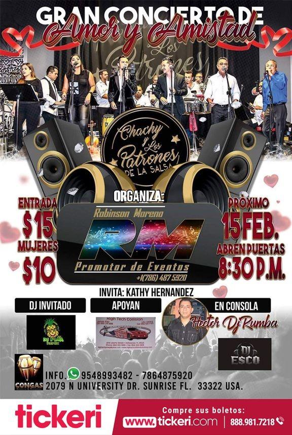 Flyer for Chachy y los Patrones de la Salsa en Sunrise FL