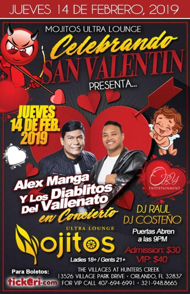 Flyer for Alex Manga y Los Diablitos del Vallenato en Orlando