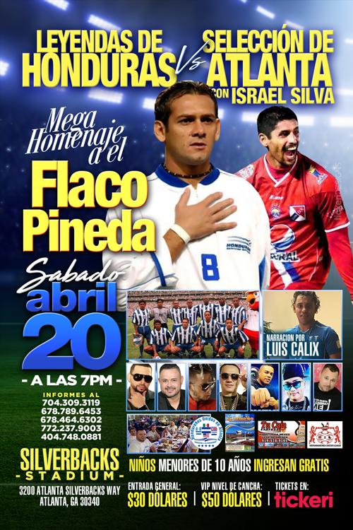 Flyer for Mega Homenaje El Flaco Pineda en Atlanta,GA