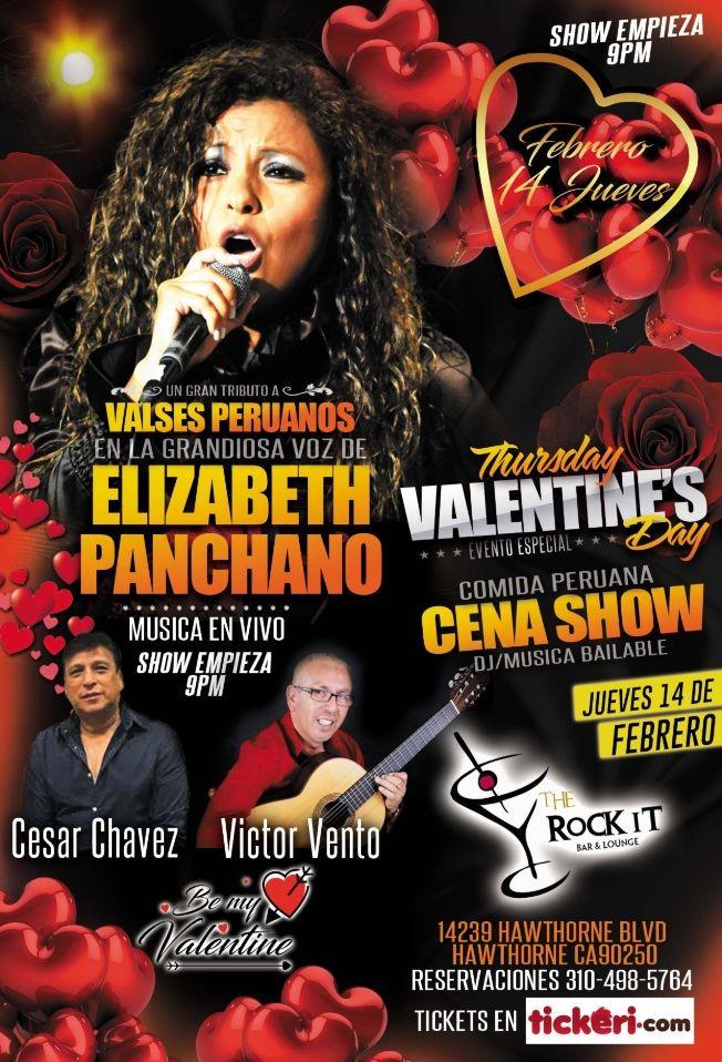 Flyer for En El Dia Del Amor Valses Peruanos en La Voz de Elizabeth Panchano Ex Los Kipus Del Peru
