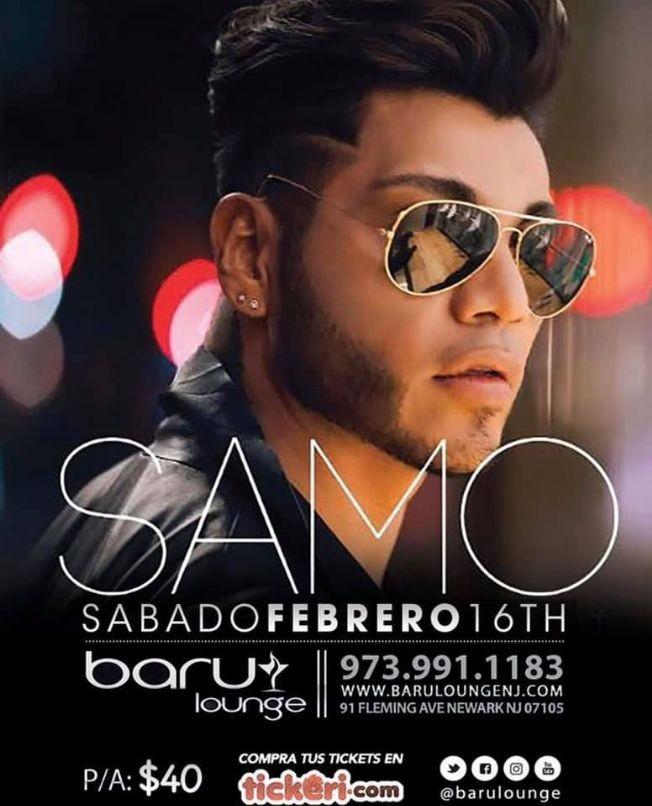 Flyer for SAMO (EX CAMILA) EN VIVO EN BABRU LOUNGE EN NEW JERSEY