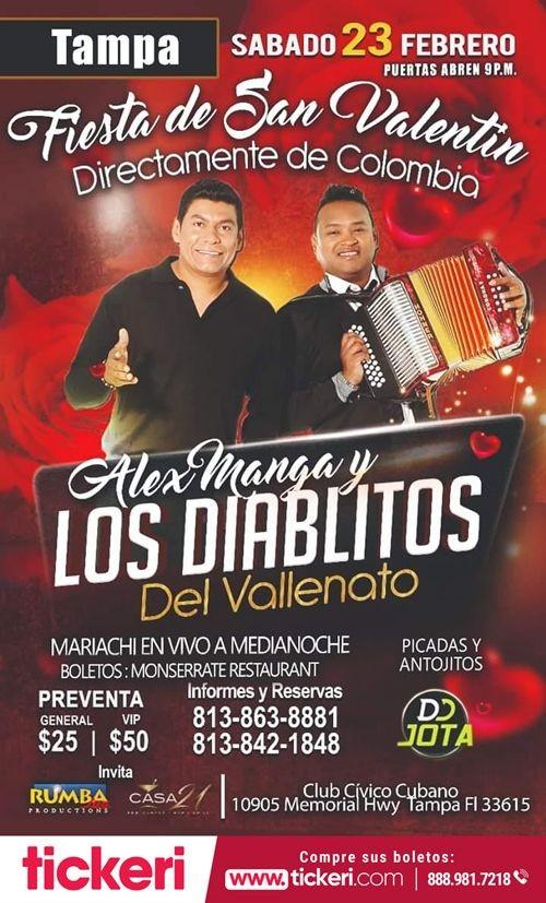 Flyer for Alex Manga y Los Diablitos del Vallenato en Concierto en Tampa,FL