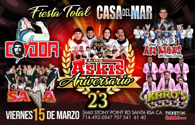 Flyer for FIESTA TOTAL con Askis y mas en Santa Rosa