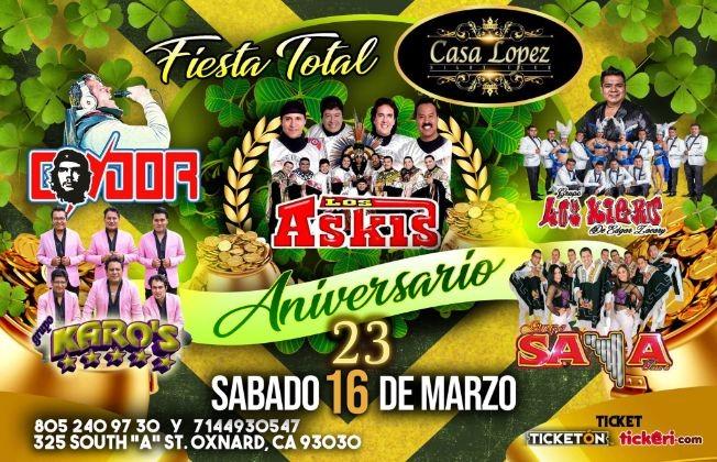 Flyer for FIESTA TOTAL con Askis y mas en Oxnard