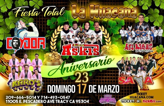 Flyer for FIESTA TOTAL con Askis y mas en Tracy