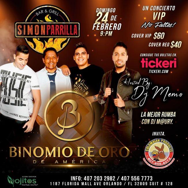 Flyer for Binomio de Oro de America en Orlando,FL