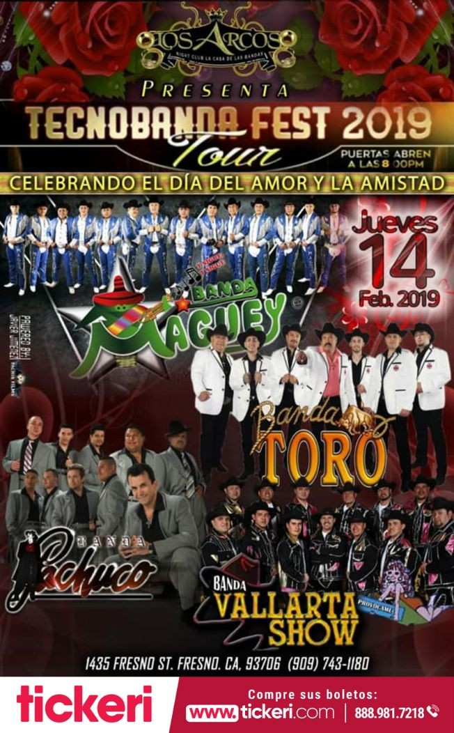 Flyer for Tecnobanda Fest 2019 con Banda Maguey, Banda Toro y mas en Fresno CA
