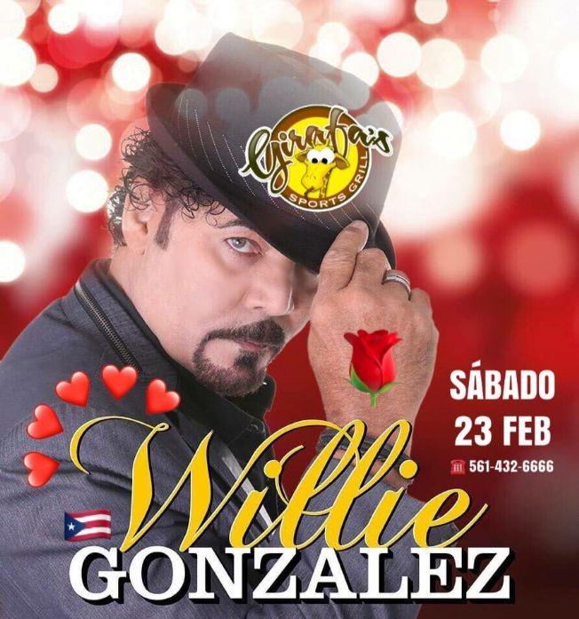 Flyer for WILLIE GONZALEZ(SALSA) en Concierto en GIRAFA'S !!!
