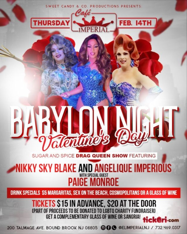 Flyer for Babylon Nights Valentine's Day Sugar and Spice Show