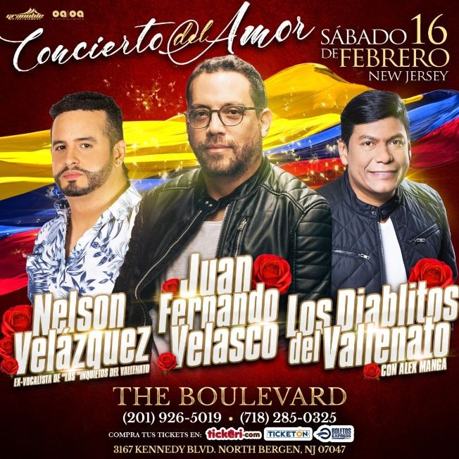 Flyer for Nelson Velasquez, Juan Fernando Velasco Y Los Diablitos del Vallenato en North Bergen,NJ