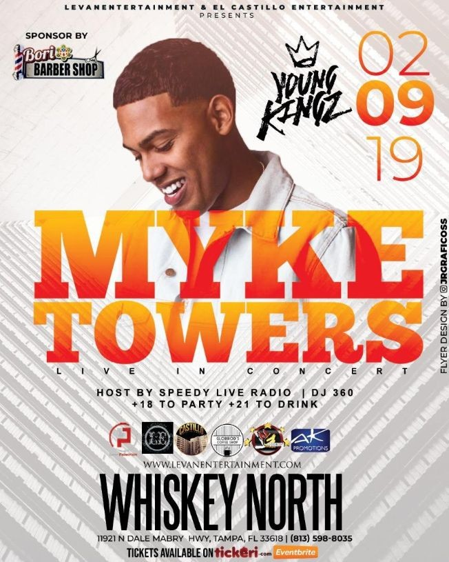 Flyer for MYKE TOWERS LIVE