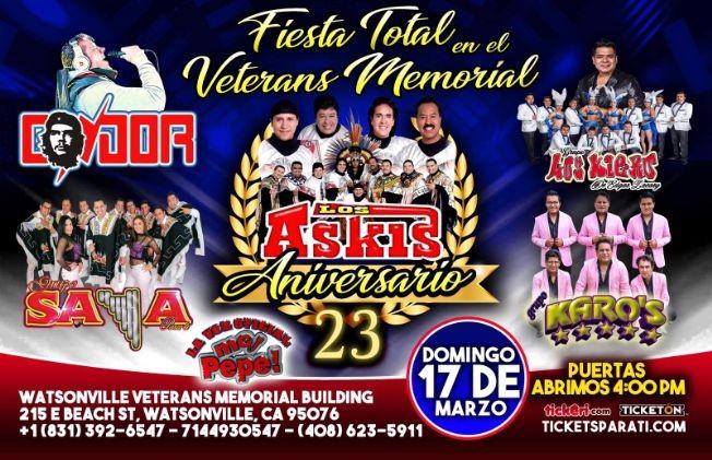 Flyer for FIESTA TOTAL con Askis y mas en Watsonville