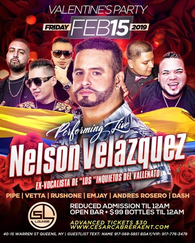 Flyer for Valentines Party Nelson Velasquez Live At SL Lounge