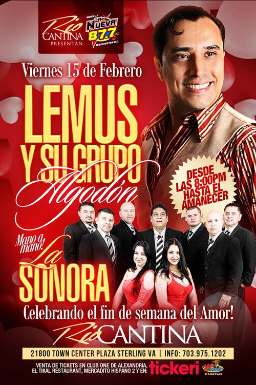 Flyer for Lemus y su Grupo Algodon y La Sonora en Sterling VA