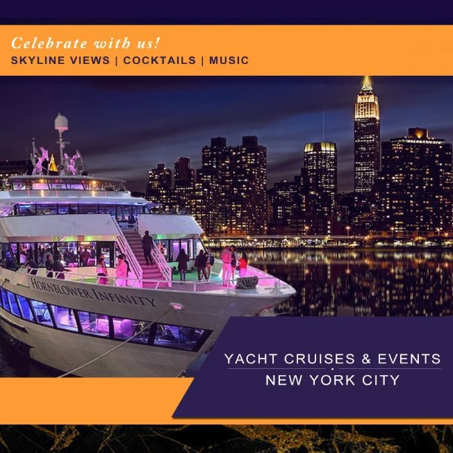 Flyer for 4/20 YACHT CRUISE PARTY AROUND NEW YORK CITY | Sky line view Cocktails & music