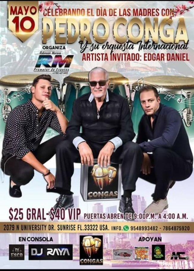 Flyer for Pedro Conga y Su Orquesta en Sunrise,FL POSTPONED