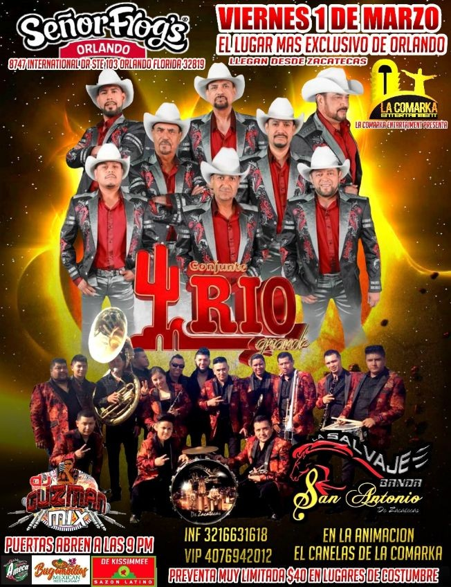 Flyer for Conjunto Rio Grande & La Salvaje Banda en Orlando,FL