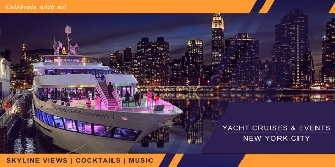 Flyer for YACHT CRUISE PARTY AROUND NEW YORK CITY | SKYLINE VIEW COCKTAIL MUSIC