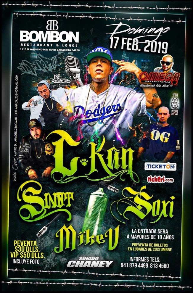 Flyer for C-kan, Sinnt, Soxi En Concierto en Sarasota,FL