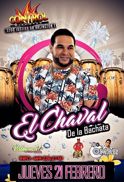 Flyer for El Chaval de La Bachata en Arlington,TX CANCELED