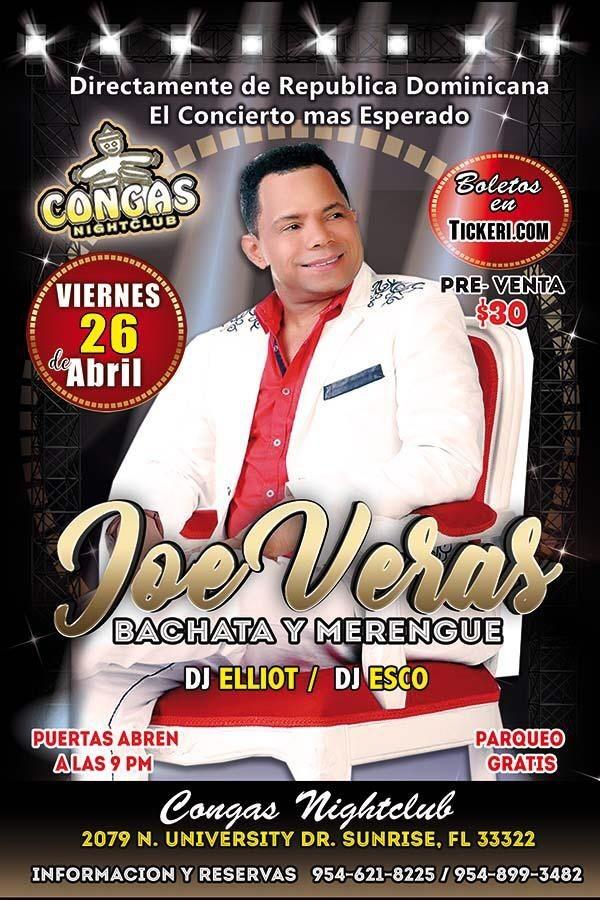 Flyer for JOE VERAS - Concierto de Bachata y Merengue