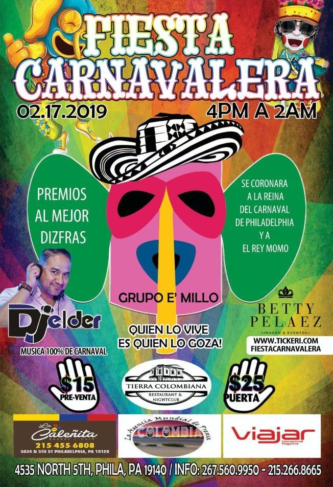 Flyer for FIESTA CARNAVALERA EN PHILADELPHIA