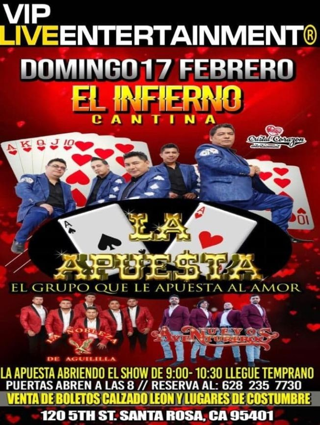 Flyer for La Apuesta en Santa Rosa,CA