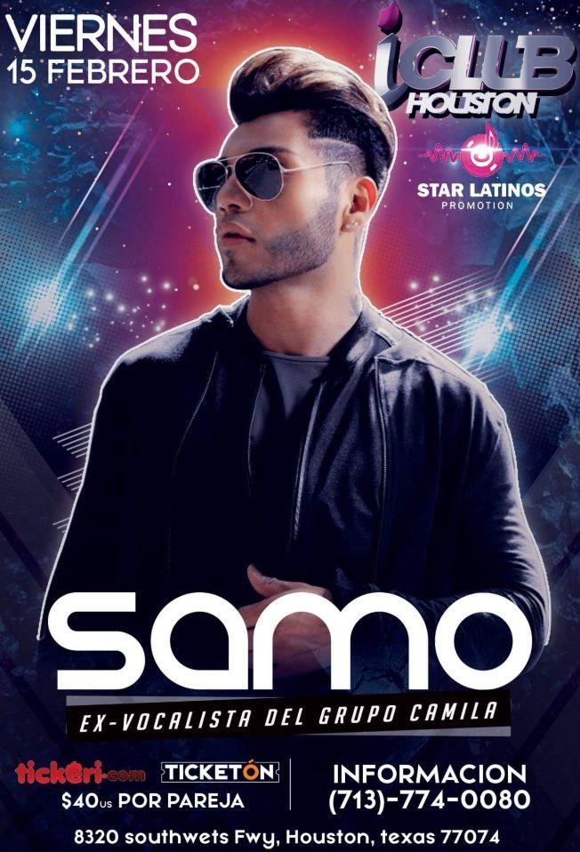 Flyer for SAMO VOCALISTA DE CAMILA EN  ICLUB HOUSTON