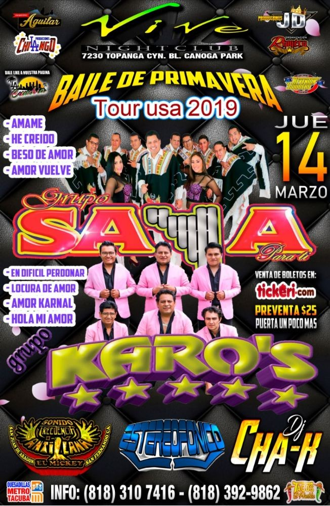 Flyer for Grupo Saya & Grupo Karo's en Canoga Park,CA