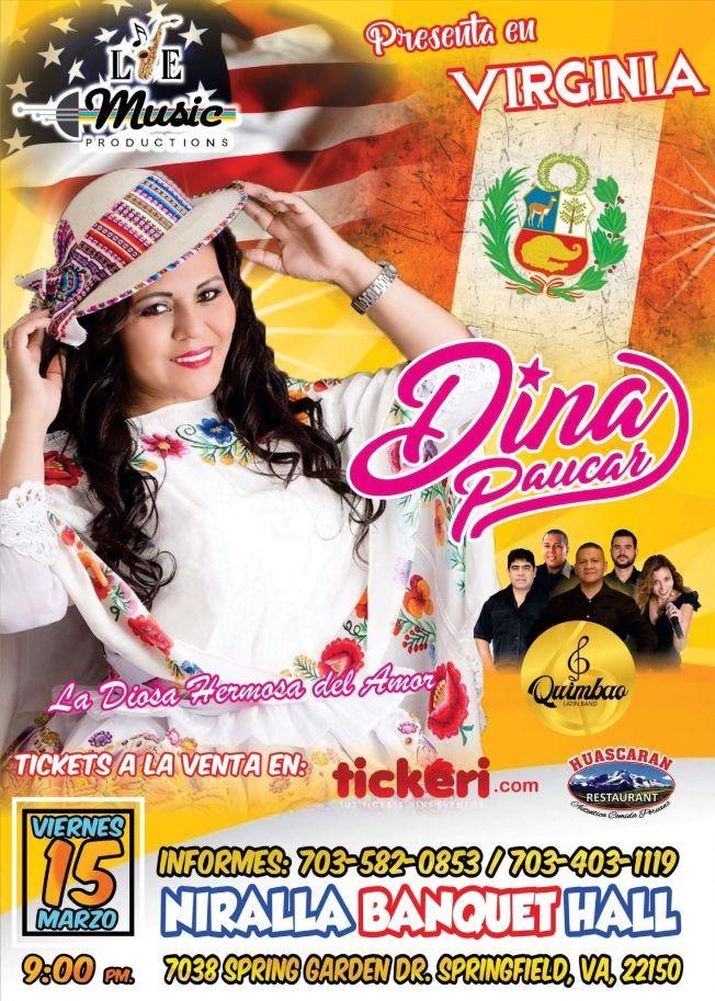 "Flyer for Dina Paucar ""La Diosa Hermosa del Amor"" en Springfield,VA"