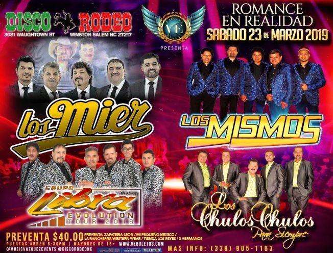 Flyer for Los Mier, Los Mismos, Grupo Libra  & Los Chulos Chulos en Winston Salem,NC