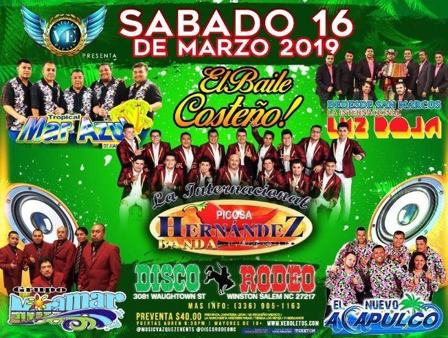 Flyer for El Baile Costeño en Winston Salem,NC