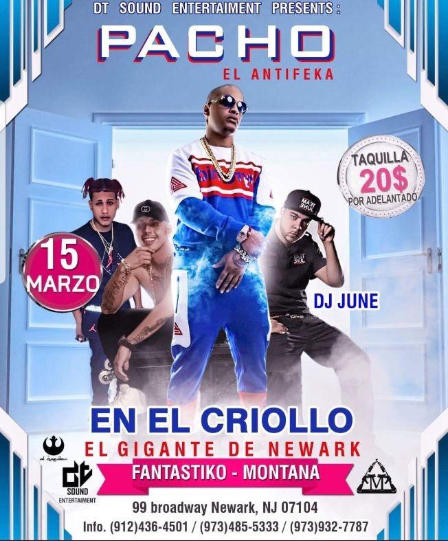 Flyer for Pacho El Antifeka En El Criollo El Gigante De Newark