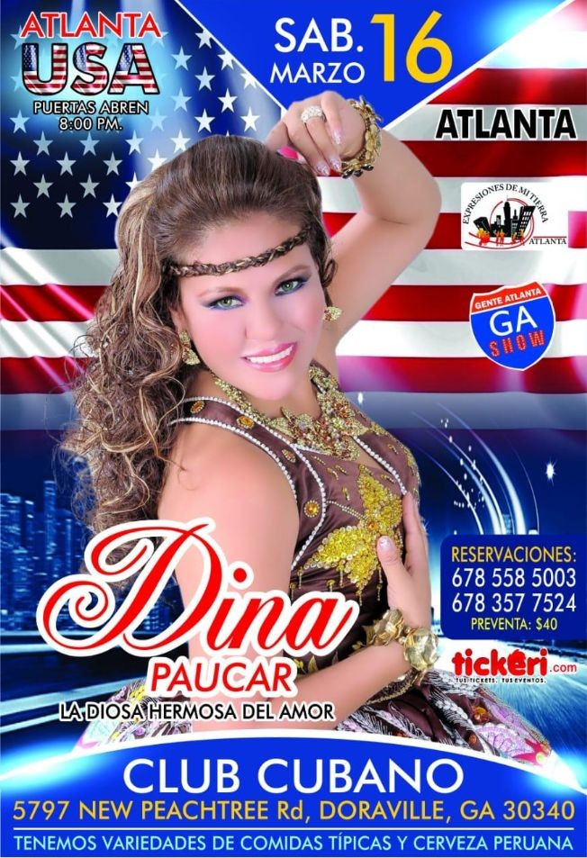 Flyer for Dina Paucar en Concierto en Doraville,GA