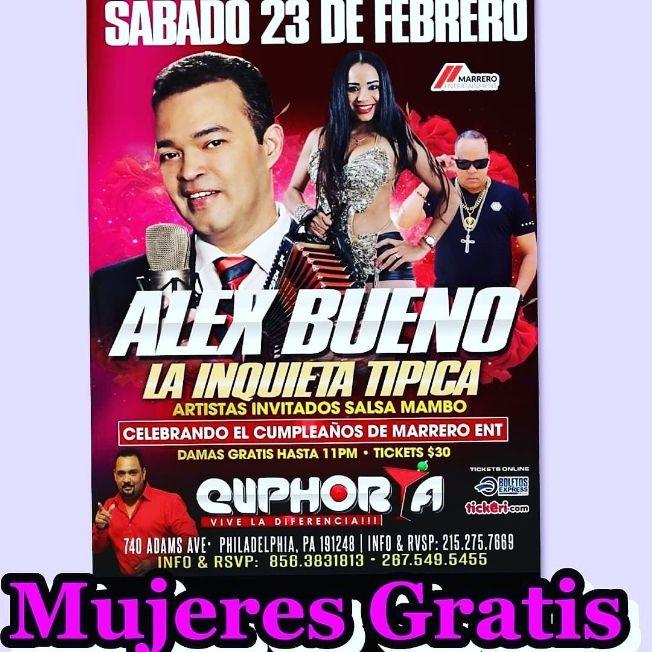 Flyer for Alex Bueno y La Inquieta Tipica