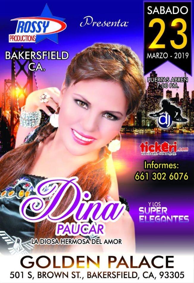 Flyer for Dina Paucar en Concierto en Bakersfield,CA
