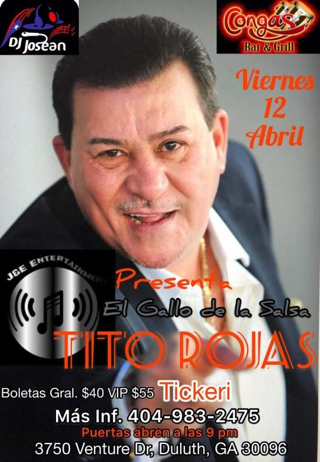 Flyer for tito rojas en atlanta