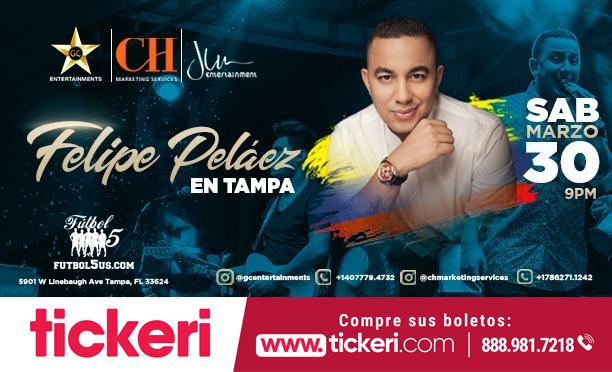 Flyer for Felipe Pelaez en Concierto en Tampa,FL