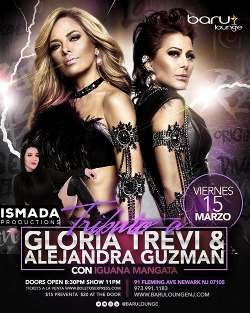 Flyer for TRIBUTO ALEJANDRA GUZMAN & GLORIA TREVI CON IGUANA MANGATA