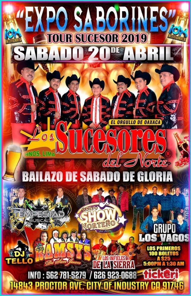 Flyer for Los Sucesores del Norte, Tempestad Musical, Grupo Show Norteño,Los Ramys,Los Infieles de La Sierra & Grupo Los Vagos en City of Industry,CA